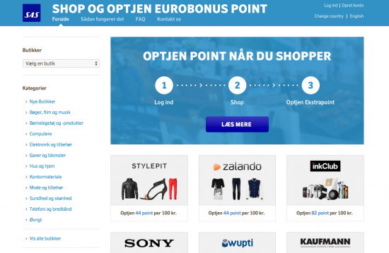SAS Eurobonus optjen points på shopping