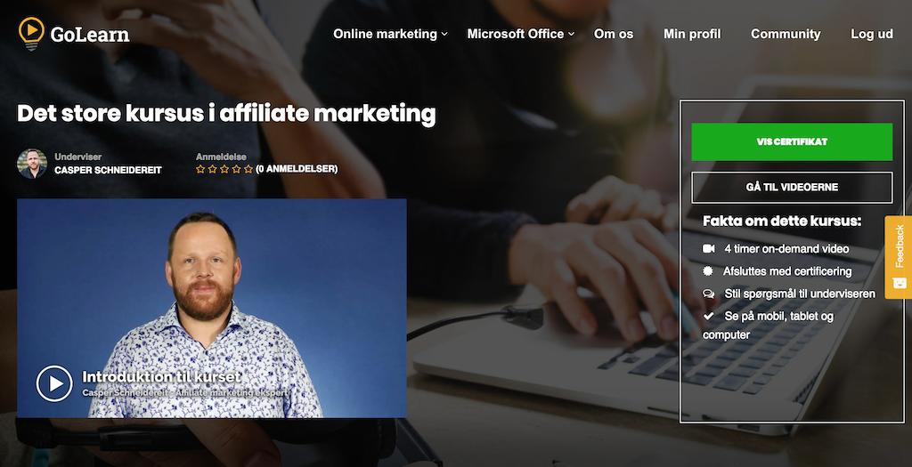 Nyt stærkt kursus om affiliate marketing